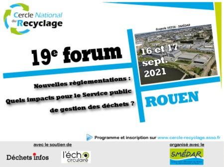 Le 19e forum du Cercle National du Recyclage aura lieu ce septembre
