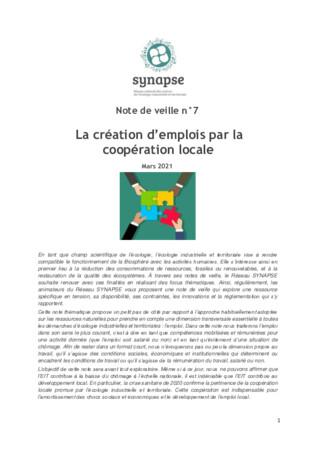 Note de veille n°7 : la création d'emploi par la coopération locale