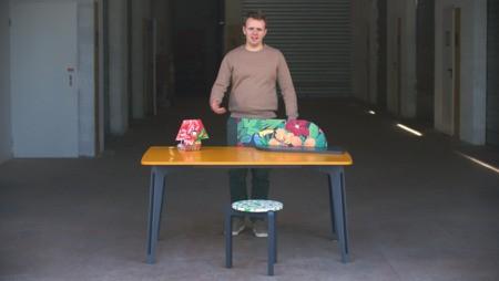 Tizu lance une collection de mobilier fabriquée avec d'anciens draps délavés et plus de 90% de matériaux de réemploi.