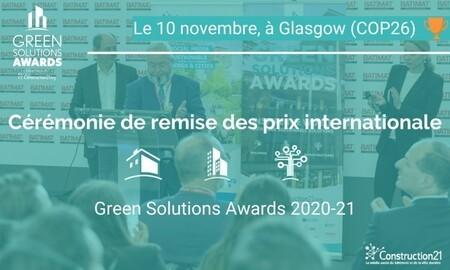 Green Solutions Awards 2020-21 : rendez-vous le 10/11 à Glasgow pour la cérémonie de remise de prix internationale